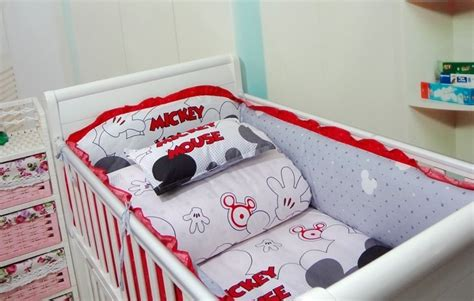 Mickey Mouse Crib Bedding Set For Baby Discount Mickey Mouse 6pcs Baby Bedding Set Curtain Crib Bumper Baby Cot Sets Baby Bed Bumper
