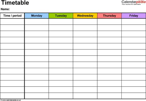 Timetable Template timetables as free printable templates for microsoft word