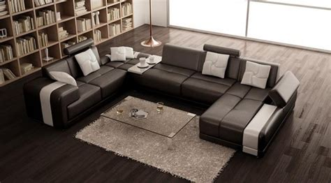 u shaped couch living room furniture modern bonded leather u shape sectional sofa in espresso