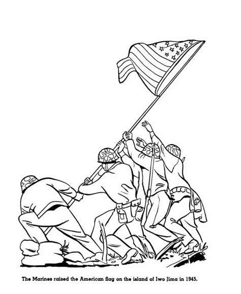 coloring page of the flag raising at iwo jima coloring pages