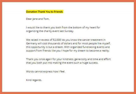 Charity Thank You Letter Format thank you letters for donations bio exle