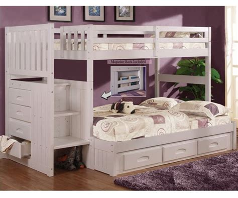 Bunk Beds With Stairs And Desk For Sale by Discovery World Furniture White Staircase Bunk Bed 0214 And Stair Stepper Bunk Beds