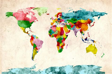 watercolor political map of the world digital art by michael tompsett world map watercolors digital art by michael tompsett