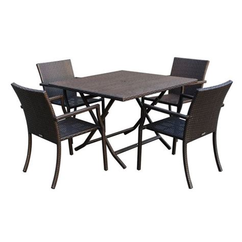 jeco 5 wicker table dining set w00501s g