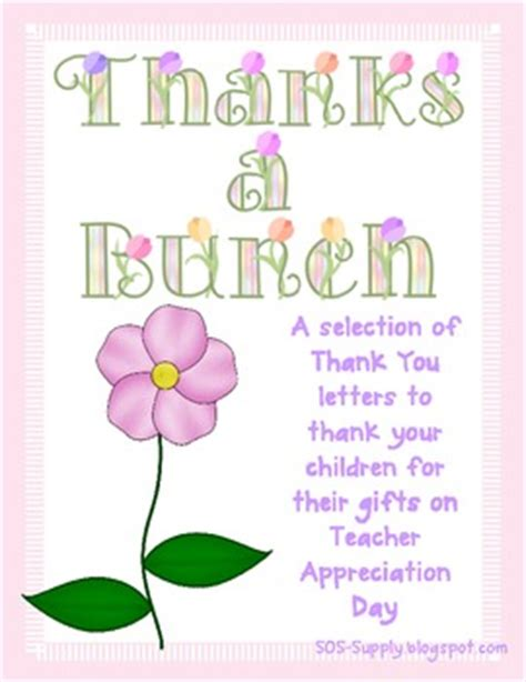 Thank You Letter For Appreciation Week Thanks A Bunch Thank You Notes For By Sos Supply Teachers Pay Teachers