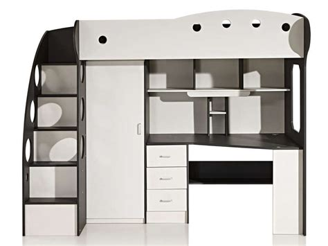 lit enfant mezzanine avec bureau lit mezzanine 90x190 cm coloris blanc gris vente
