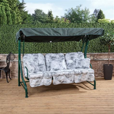 swing roma roma 3 seater garden patio swing seat green frame with