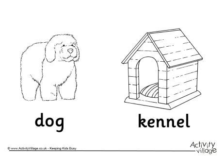 coloring pages of animals and their homes and kennel colouring page