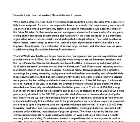 Power Essay by Mussolini Rise To Power Essay