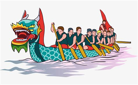 dragon boat cartoon images dragon boat race vector material the team green dragon