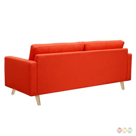 mid century modern tufted sofa uma mid century modern orange fabric button tufted sofa w