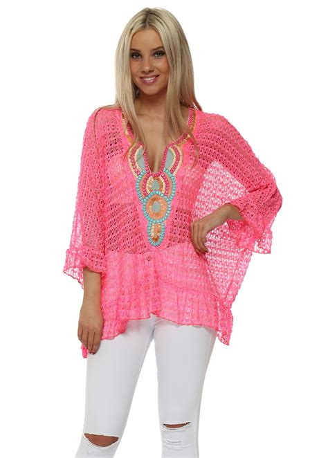 pink beaded top just m pink lace beaded tunic top