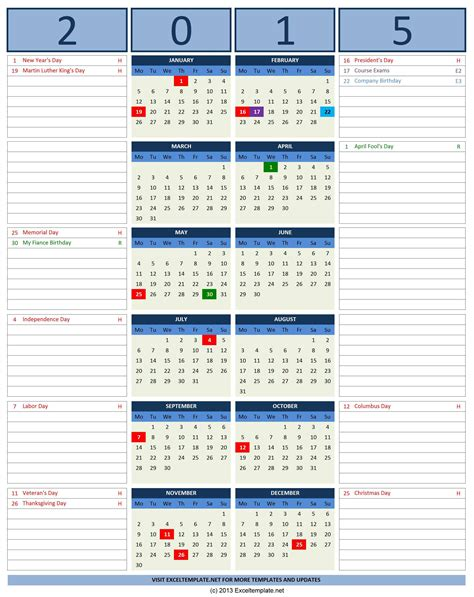 calendar with notes template 2016 calendars excel templates