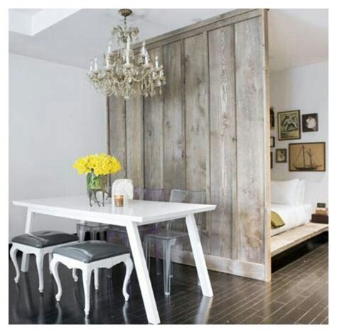 Reclaimed Wood Room Divider Small Apartment Design Idea Studio Condo Idea Decor Rustic Wood False Wall Room Divider