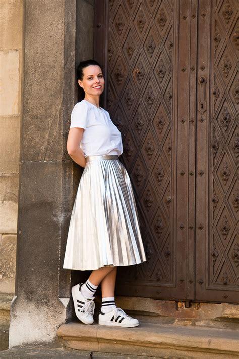 metallic midi skirt sneakers tina chic