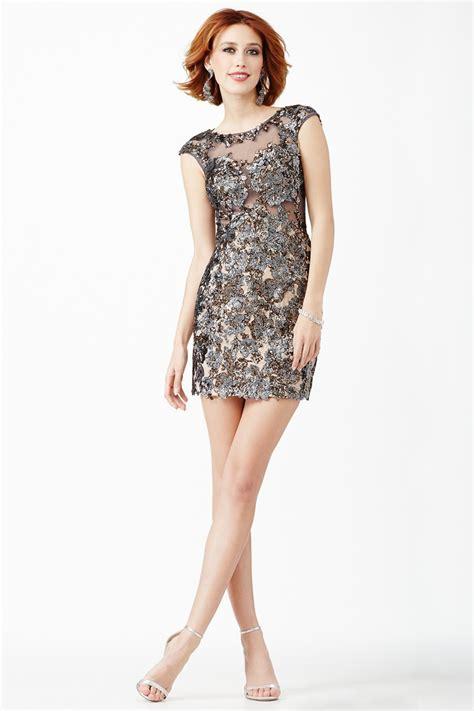 Dress I jovani jvn32928 cap sleeve metallic micro dress