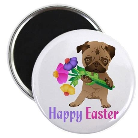 happy easter pug happy easter pug with flowers magnet by nature tees