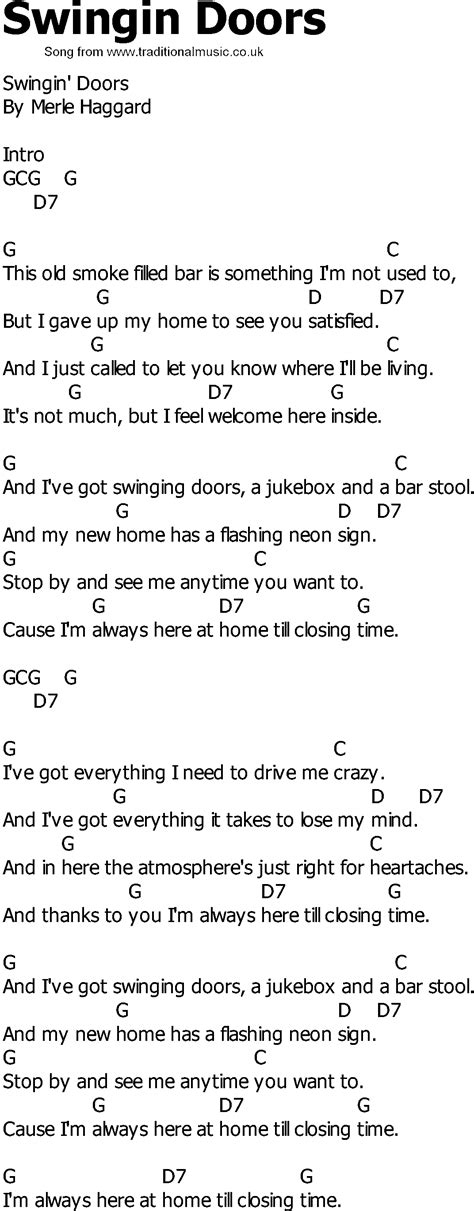 swing country song old country song lyrics with chords swingin doors