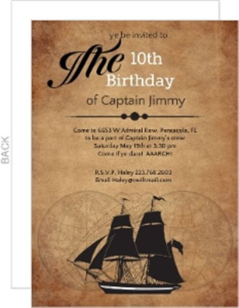 ship birthday invitations pirate invitations
