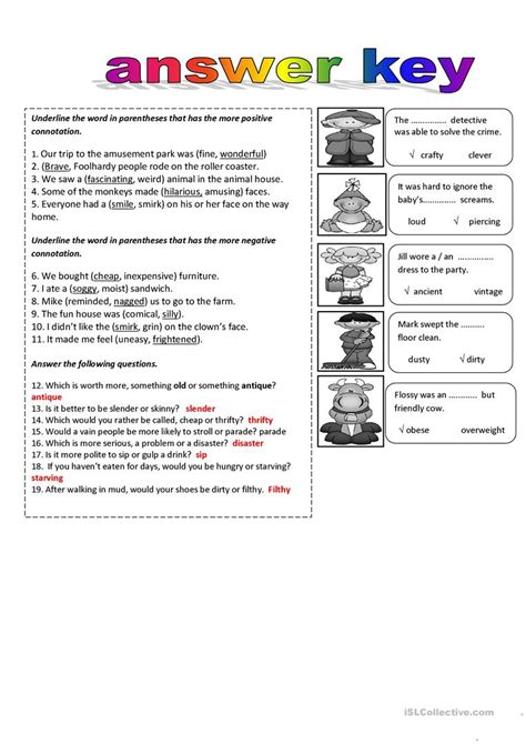 Connotation And Denotation Worksheets