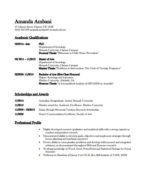 Academic Resume by Academic Resume Template 6 Free Word Pdf Document