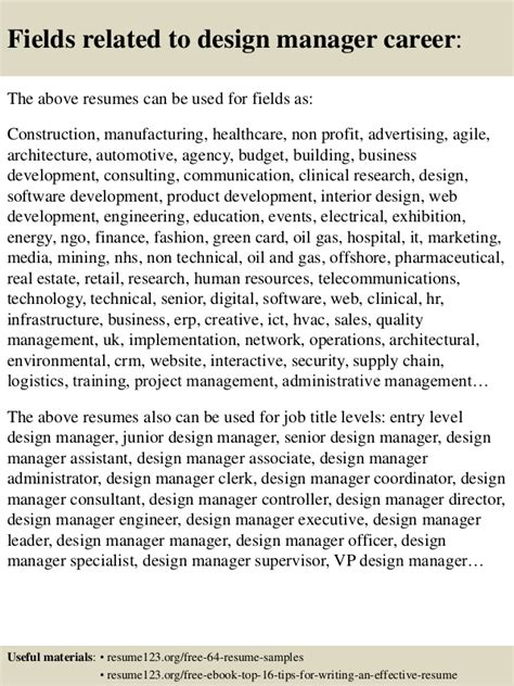 design coordinator cv top 8 design manager resume sles