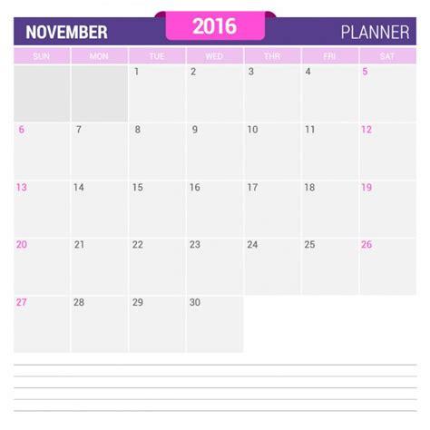 Calendario Noviembre 2016 November Calendar 2016 Vector Free