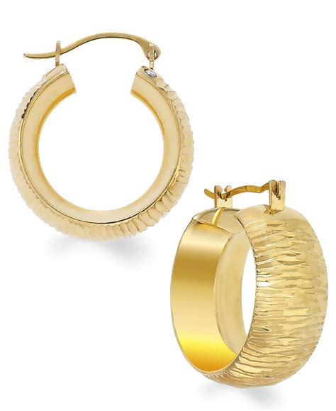 macy s signature gold cut small hoop earrings in