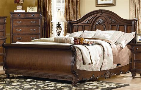 king bed bedroom set 4 piece victorian renaissance cherry king sleigh bed bedroom set ebay