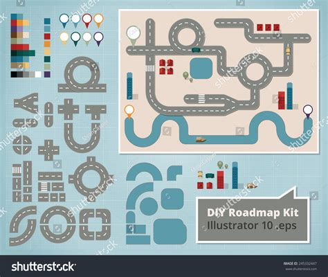 creative road design elements vector road map design elements set illustrations stock vector