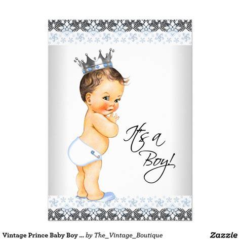 Boy Vintage Baby Shower by Vintage Prince Baby Boy Shower 5x7 Paper Invitation Card