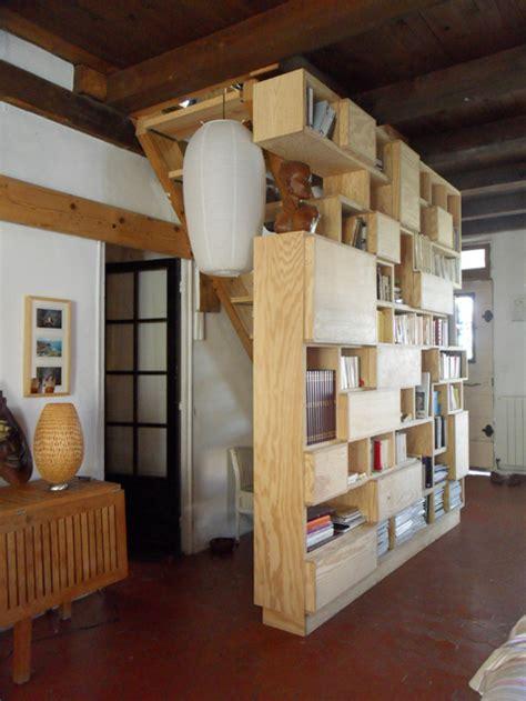 Bibliothèque en contreplaqué pin : opc