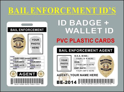 enforcement id card template bail enforcement id s badge wallet card custom w