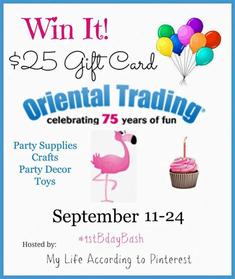 one derful birthday bash 25 oriental trading company gift card 9 24 closed spit - Oriental Trading Wedding Giveaway