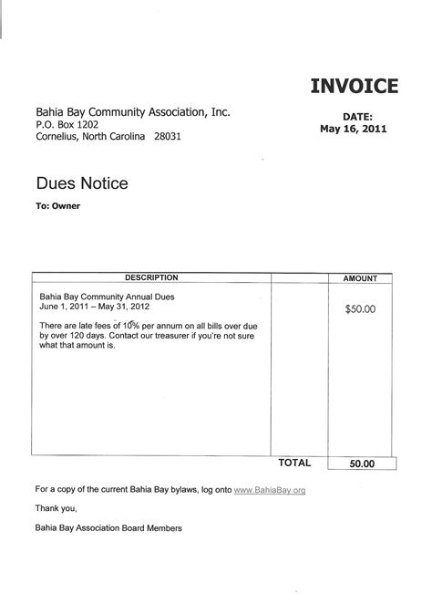 dues invoice template invoice template 2017