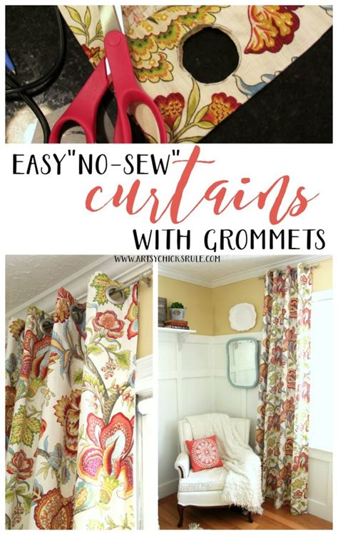 how to make curtains with grommets how to make no sew curtains with grommets artsy chicks rule 174