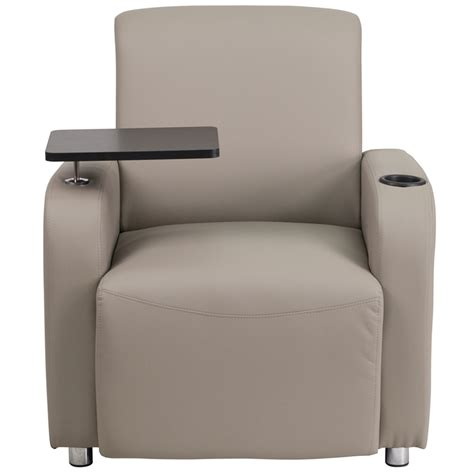 Chair With Cup Holder by Gray Leather Guest Chair With Tablet Arm Chrome Legs And