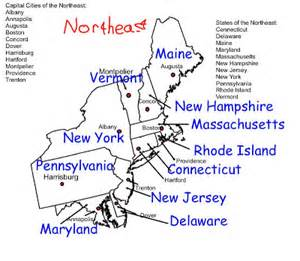 eastern united states map with capitals east region states and capitals northeast region