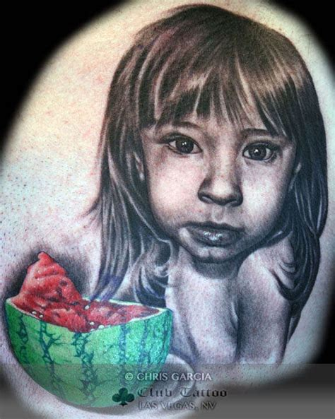 chris garcia tattoo chrisgarcia child portrait watermelon child