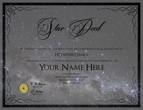 name a star certificate template free images certificate