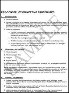 Multifamily Plans Pre Construction Meeting Procedures Construction Management