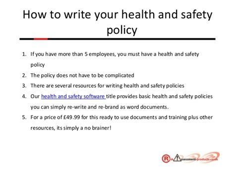 how to write a workflow plan health and safety made easy powerpoint presentation