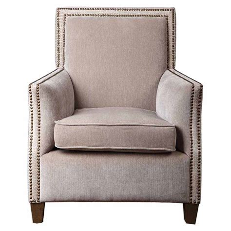 home goods armchairs plush oatmeal cushioned curved armed brass nail trimmed