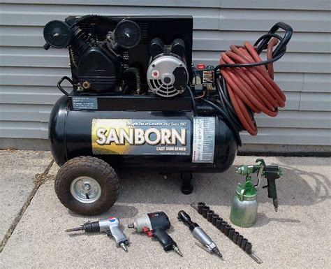 sanborn air compressor with accessories offer jackson west bend wi