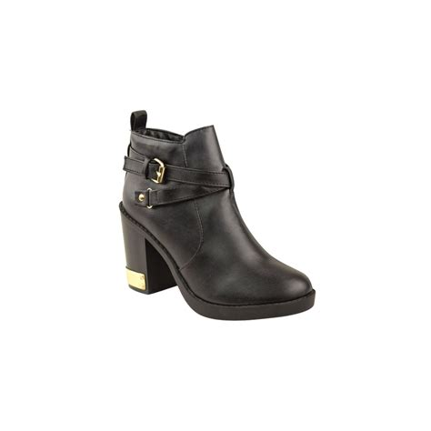 black heel ankle boot with gold buckle from parisia