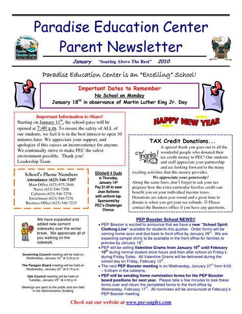 Parent Newsletter Best Photos Of Parent Newsletter Exles Sle Parent Newsletter Elementary School