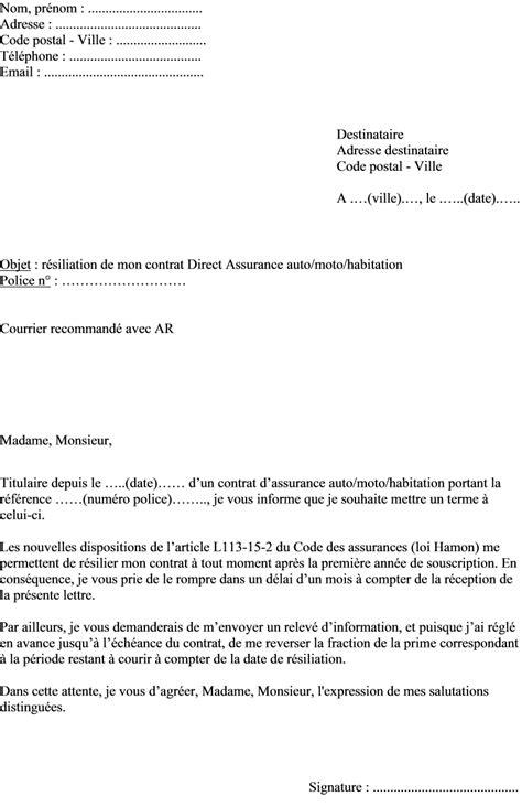 Résiliation Mandat De Gestion Lettre Type Mod 232 Le Lettre De R 233 Siliation Contrat Direct Assurance Loi Hamon Actualit 233 S Informations