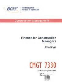 Mba Construction Management Distance Education by Bcit Cmgt 7330 Finance For Construction Managers
