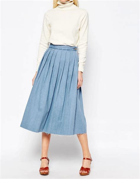 asos asos denim pleated hem midi skirt in blue at asos