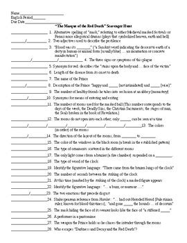 Masque Of The Worksheet by The Masque Of The By Edgar Allan Poe Scavenger